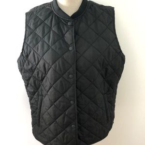 Gap Black Quilted Lined Vest XLarge w/pockets